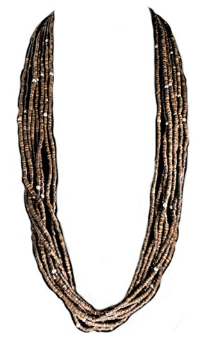 Coldwater Creek Gift Boxed Brown Wood Bead Necklace with Silver Accents