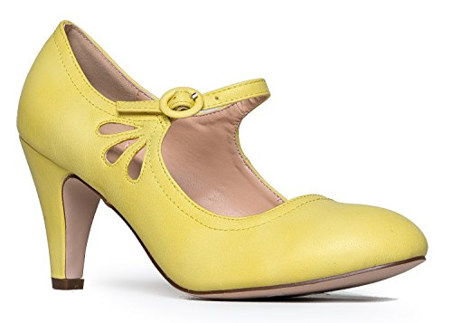 Kitten Heels Mary Jane Pumps By Zooshoo- Adorable Vintage Shoes- Unique Round Toe Design With An Adjustable Strap,Lemon,10 B(M) US