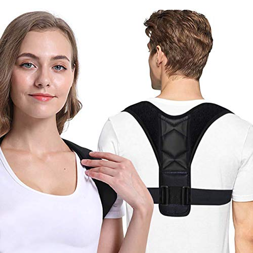 Posture Corrector, Ergonomic Back Straightener Brace for Men and Women for Clavicle Support and Providing Pain Relief from Neck, Back and Shoulder (Black)