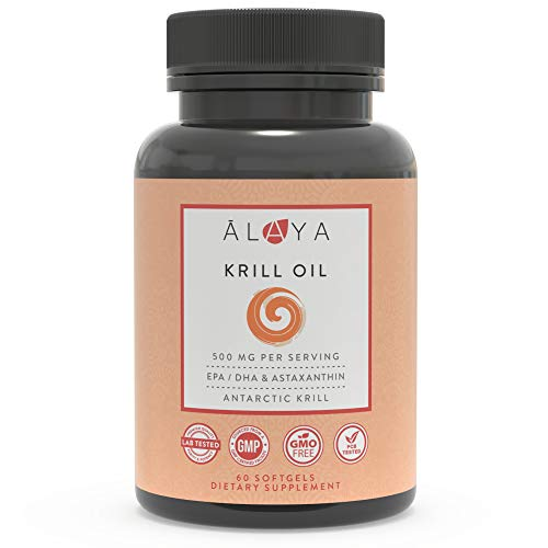 Alaya Naturals - Antarctic Krill Oil 500mg Supplement with Phospholipids, EPA/DHA Omega 3 & Astaxanthin - Non-GMO - PCB Tested Krill Oil - 60 Softgels