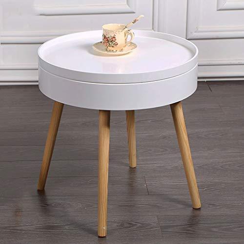 avec Rangement Table D'appoint Mini Table Basse Multi-Fonctions Rondes en Bois Massif Etagères Mobiles Salon Et Chambre Bureau (Couleur : Blanc)