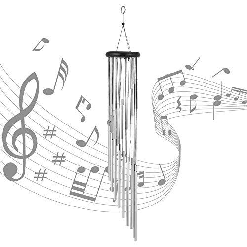 You&Lemon Große Windspiele mit 18 Aluminiumlegierung Rohre, 90cm Draußen Windspiele, Windspiel Deko für Home Hinterhof Balkon Gartenterrasse (Silber)