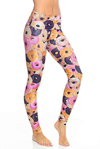 Emily Hsu Donut Delight Legging-EHS Donut-Medium (M) Womens Active Workout High Waisted Yoga Leggings Printed