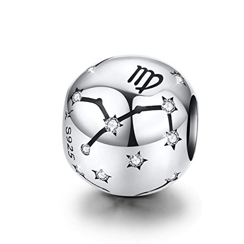 Zodiac Sign Charm fit Pandora Charms Bracelet, 925 Sterling Silver Virgo Star Bead Charm 12 Horoscope Constellation Charm for Bracelet and Necklace, Christmas Gift