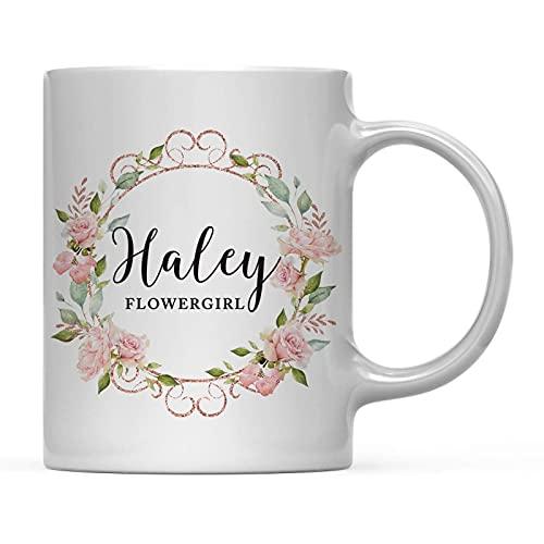 Banquete de boda personalizado 11oz. Taza de café de regalo, Haley Flowergirl, rosas rosadas de acuarela con purpurina dorada de imitación rosa, paquete de 1, ideas personalizadas para regalos