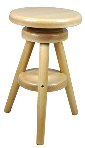 Magnetic Mobel® Hocker Massiv Schemel Stuhl Sitzmöbel Buche Drehhocker Barhocke 52-70cm (Lackiert Buche)