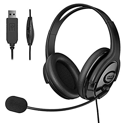 TINGDA USB Headset, Computer Headset with Microphone Noise Cancelling, Lightweight PC Headset Wired Headphones, Comfort-fit Office Headset For Skype, Webinar, Cell Phone, Call Center from Mfltd