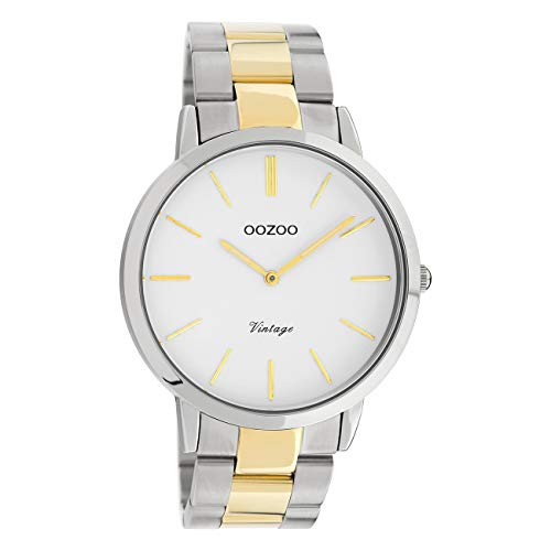 Oozoo Reloj de pulsera unisex, plata y oro, cuarzo, C20101, vintage, fino, acero inoxidable, UOC20101