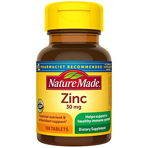Nature Made Zinc 30 mg Tablets, 100 Count for Immune System Support