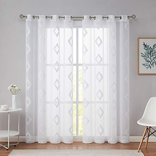 """Nottingson Home Embroidered Sheer Curtains White 84 Inches Long 2 Panels Living Room,Diamond Geometric Patterned Voile Window Drapes Bedroom/Guest Room with Grommets/Rings Top,White 54"""" Wx84 L"""