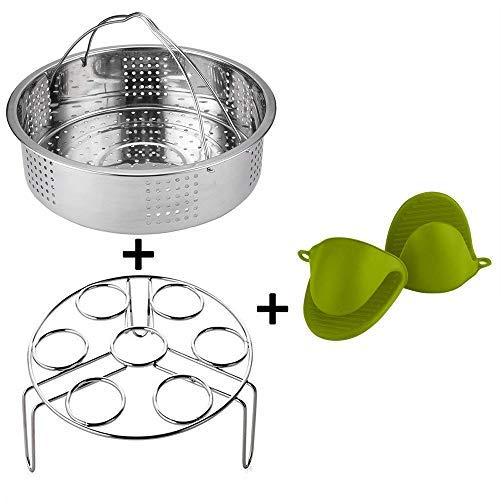 Ready-to-eat pot accessories for 6,8Qt instant pot pressure cookers, 3 piece sets, steam basket/egg steamer stand and anti-scalding hand clips, and perfect gift box.