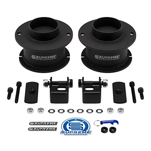 Supreme Suspensions - Front Leveling Kit for Ram 2500 3500 4WD Front 3' Front Lift Kit High-Strength Steel Spring Spacers + Shock Mounts Relocation Brackets