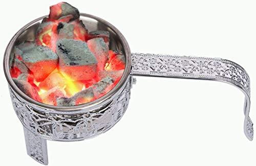 Kertou Shisha - Cesta para cachimba de carbón, cachimba de carbón, recipiente para cestas, de acero inoxidable, con mango