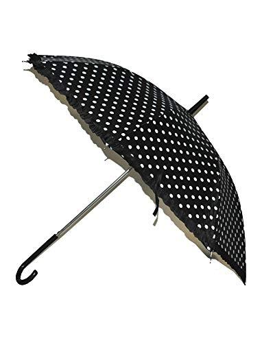 Das Kostümland Regenschirm Fifties mit Punkten und Rüschenabschluss - Retro Look - Schwarz