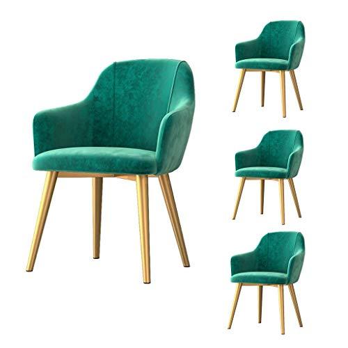 Set of 4, Modern Dining Chairs Kitchen,Velvet Upholstered Soft Cushions,Gold Metal Legs,for Home Living Room