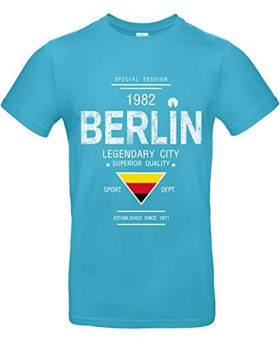 Smilo & Bron Herren T-Shirt mit Motiv Berlin Bedruckt Türkis Swimming Pool XS
