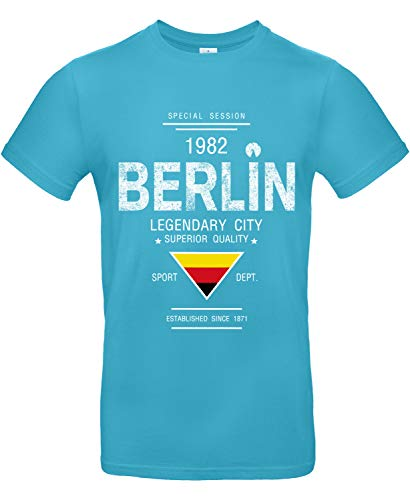 Smilo & Bron Herren T-Shirt mit Motiv Berlin Bedruckt Türkis Swimming Pool XXL