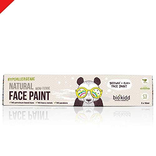 BioKidd Gesichtsfarbe Schminkset für Kinder Bio Natürliche Kinderschminke für Sensitive Haut, 5 washbar Farben Bodypainting Theaterschminke Set Schminkpalette Körperfarbe für Fasching, Halloween