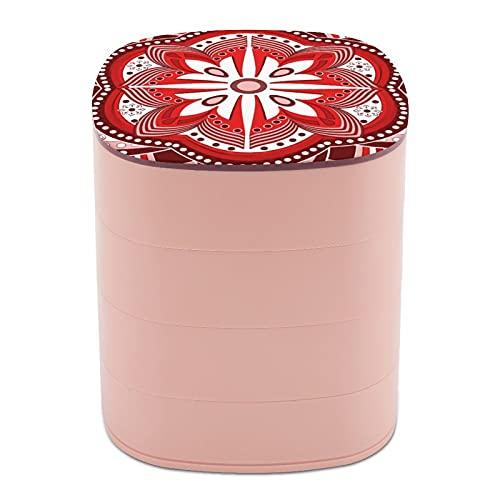 Rotate The Jewelry Box Print Arte clásico étnico textura gráfica Mandala diseño multicapa joyería organizador caja con espejo para mujeres niñas y niños