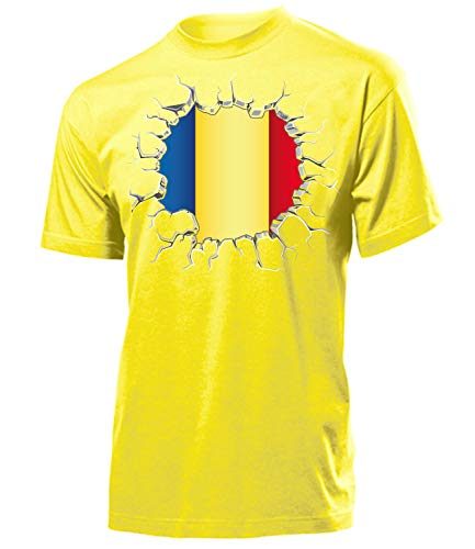 Rumänien Romania Fanshirt Fussball Fußball Trikot Look Jersey Herren Männer t Shirt Tshirt t-Shirt Fan Fanartikel Outfit Bekleidung Oberteil Hemd Artikel