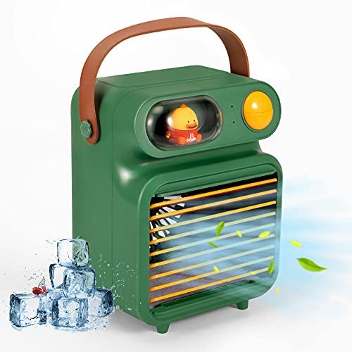 Delicacy Acondicionador Enfriador Evaporativo, Humidificador Móvil Purificador de Aire Portátil Mini Ventilador de Aire Acondicionado con Luz Nocturna 3 Velocidades de Viento Ajustables-Verde