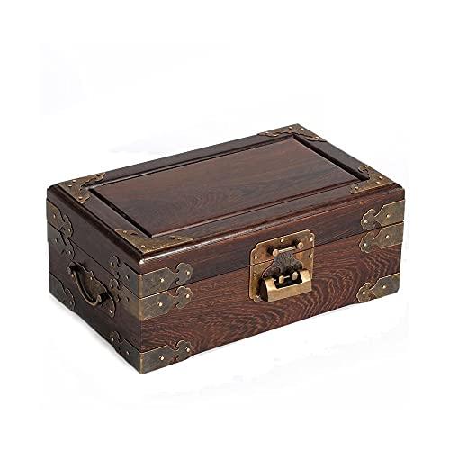 ZAKRLYB Hucha de madera maciza con cerradura de doble capa a prueba de polvo de polvo de madera de almacenamiento de madera Artículos de almacenamiento de monedas de escritorio dormitorio para niños s