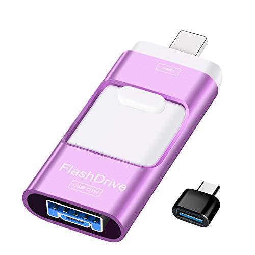 Sunany USB Stick 128GB Speicherstick Externer Speichererweiterung, Photostick Kopieren von Bildern Und Videos Mit Einem klick,Geeignet für Alle GeräTe, Computer, Mobiltelefone, Tablets(Lila)