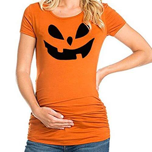 Halloween Imprimé Vêtements Grossesse Et Maternité,Yesmile Visage de Maternité Enceinte Manches Courtes Mode Blouses
