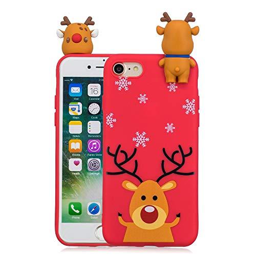 MoEvn Natale Cover per iPhone 8, 3D Carina Serie Natalizie Custodia per iPhone 7/8 Sottile Morbido TPU Silicone Matte Opaco Protezione Cellulare Gomma Gel Antiurto Caso (Alce)