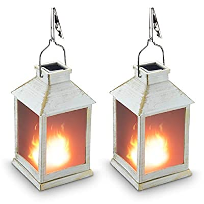 "10"" Vintage Style Solar Powered Lantern Fame Effect(Metallic Coating White,Plastic),Solar Garden Light with Vivid Fire Effect,Outdoor Solar Hanging Lantern,Decorative Lanterns ZKEE"