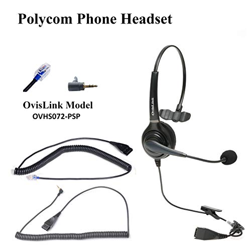 OvisLink Polycom and Allworx IP Phones Compatible Call Center Headset | HD Voice Headset with Noise Canceling Microphone, Flexible Rotatable Microphone Boom, 2 Bottom Quick Disconnect Cords