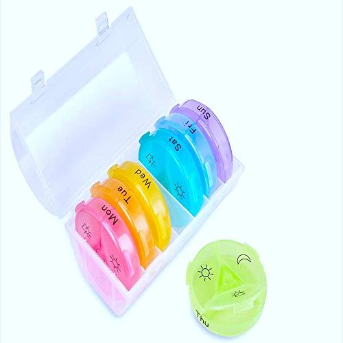 Pastillero Semanal 3 Tomas en Español - Pastillero Portátil Viaje Resistente al agua Organizador de Medicamentos 7 Colores Multicolor Con 4 Compartimentos y sistema Redondo