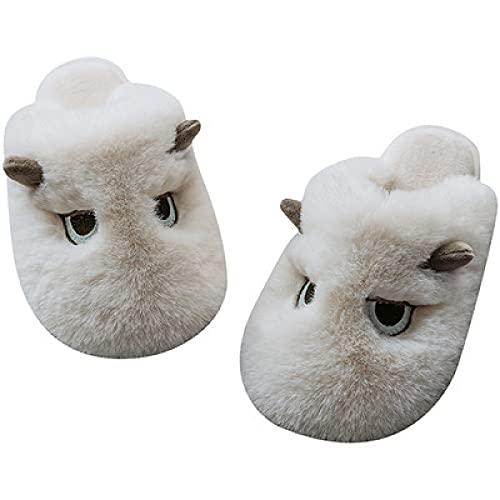 QAZW Zapatillas De Casa para Mujer Zapatos Planos De Algodón para Interiores Deslizadores Antideslizantes Resistentes Al Desgaste Zapatos Ligeros Cálidos y Peludos Suela Suave Pantuflas,White-7/8