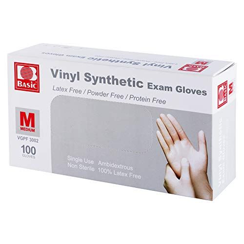 Disposable Medical Clear Vinyl Exam Gloves Industrial Gloves - Latex-Free & Powder-Free 100PCS - Medium