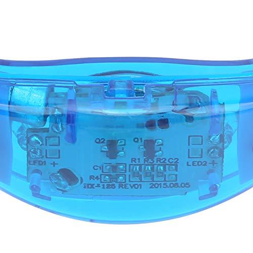 Lantuqib Pulsera LED con Control de Sonido, Funciona de Noche, fácil de Poner y Quitar, Pulsera Intermitente activada por Voz para Escenario, Concierto Musical, Fiesta, Bar(Blue)