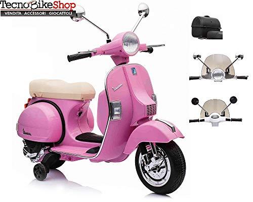 Tecnobike Shop Moto Elettrica Scooter per Bambini Piaggio Vespa PX 150 12v Full Parabrezza e Bauletto Luci Suoni LED Mp3 (Rosa)