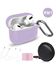 Cuauco Airpods Pro Case,Protective Silicone Cover for AirPods Pro(2019 Release)(Front LED Visible),with 1 Keychain/2 Strap/1 Watch Band Holder/1 Headphone Case for Apple AirPods Pro(6 Pack)(Lavender)