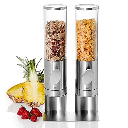 AdHoc CS12 2er Set Frühstück Cerealien-/ Müslispender mit Ständer DEPOSITO (ohne Inhalt), Edelstahl/Acryl