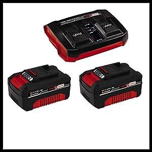 Einhell Akku-Rasenmäher RASARRO Power X-Change (Li-Ion, 36 V, 38 cm Schnittbreite, 6-stufige zentrale Schnitthöhenverstellung, inkl. 2 x 4,0 Ah Akkus + Twincharger, Mulchkeil)