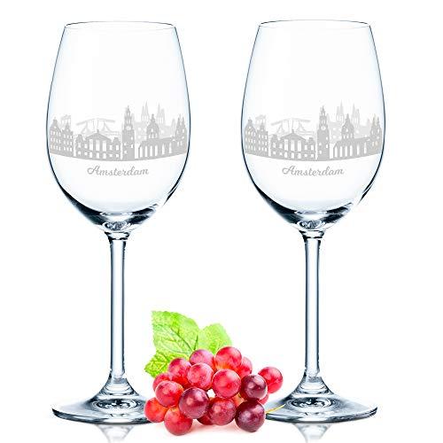 Leonardo Weinglas mit Gravur - Amsterdam Geschenk im 2er Set - Weingeschenk - Souvenir Andenken und Mitbringsel - Geburtstagsgeschenk für Sie und Ihn