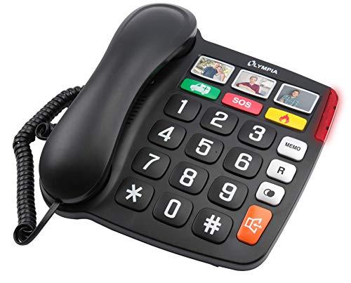 Olympia Großtastentelefon Telefon Festnetz Senioren Extragroße Wahltasten Hörgeräte kompatibel