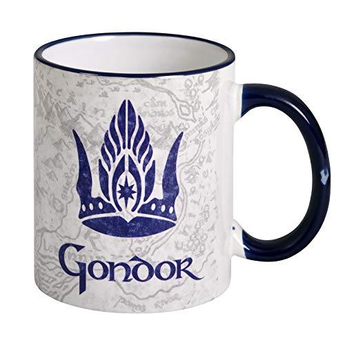 Elbenwald Herr der Ringe Tasse Gondor mit Wappen und Mittelerde Karte Rundumdruck Keramik 320 ml weiß