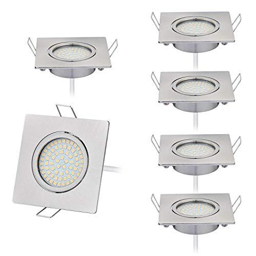 HCFEI 6er set LED 4W Slim Spot Einbaustrahler Schwenkbar 230V Edelstahl Strahler Einbauleuchte, Eckig, Neutralweiß 4000K, Einbautiefe 22mm