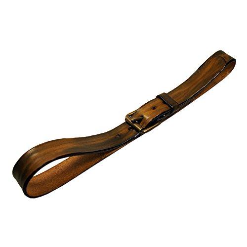 QUOIO by Rough Florence, Cintura di cuoio effetto corteccia con fibbia a rullo e passante, Girovita 100 = Lunghezza totale 115 cm