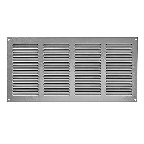 Griglia di ventilazione 400 x 200 mm, colore grigio, con protezione dagli insetti, griglia di scarico, protezione dalle intemperie