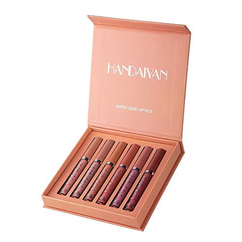 Rouge à Lèvres Liquide Mat, Longue Durée Waterproof Hydratant Brillant Maquillage à Lèvres Lot de (6 PCS GIFT SET) (B)