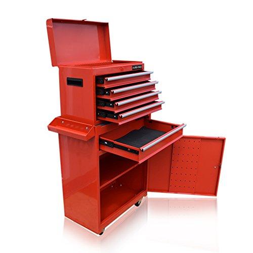 Roter Werkzeugschrank mit Schubladen und auf Rollen von US Pro Tool