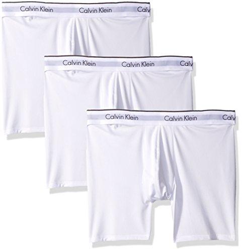 Calvin Klein Men's Microfiber Stretch Multipack Boxer Briefs, White, Small