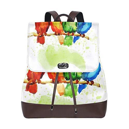 Flyup Watercolor Cute Bird PU leather Backpack College School Bookbag Shoulder Hiking Travel Daypack Casual Bags Mochila de cuero para mujer