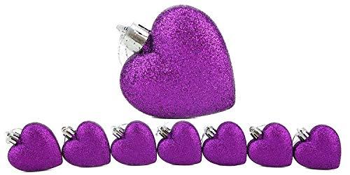 Christmas Concepts® Confezione Da 8-60Mm Baubles A Forma Di Cuore Con Decorazioni Natalizie - Glitter Decorated Baubles (Purple)